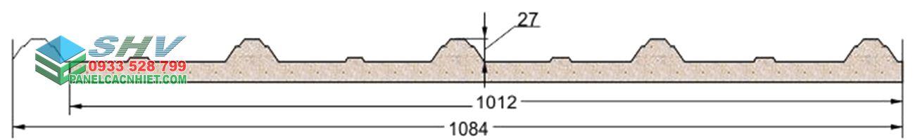mặt cắt mái tôn 3 lớp lõi xốp công nghiệp