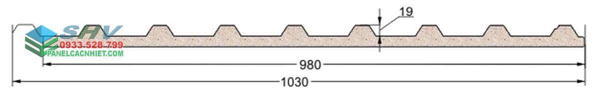 mặt cắt mái tôn 9 sóng